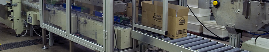 Automatic case packing of biscuits into cardboard boxes